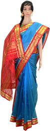 Sky Blue Plaid with Red and Gold - Silk Saree
