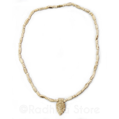 Small Radha Lotus Pendant-Tulsi Necklace