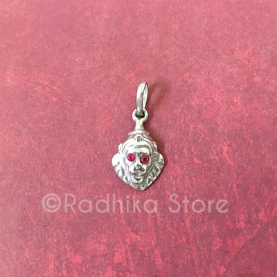 SILVER LORD NARASIMHADEVA WITH RUBY EYES PENDANT- Small