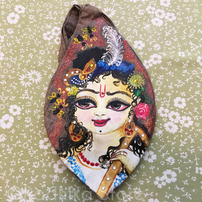 Sri Balaram Ji With Plow - Hand Painted With Jewels - Dark Beige - Jute - Bead Bag
