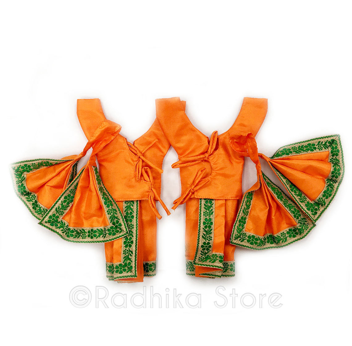 Nara Hari Orange and Green Deity Outfit - (Gaura Nitai) -Choose Size