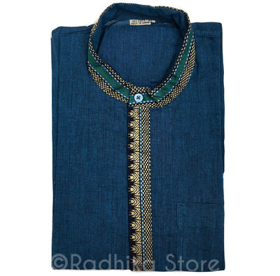 Dark Teal Blue Cotton Kurtas - With Beige/Gold, Green and And Black Trim - S,M,L,XL,