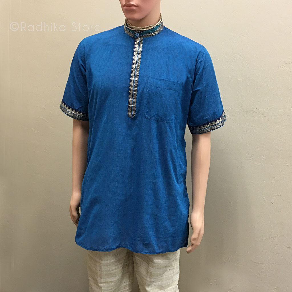 Dark Teal Blue Kurtas - With Beige/Gold, Green and and Black Trim - S,m,l,xl,