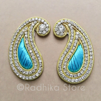 Teal Rhinestone Chandrika For Deity Earrings, Crowns and Turbans