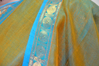 Teal Olive  With Orange Peacock- Pure Silk Saree