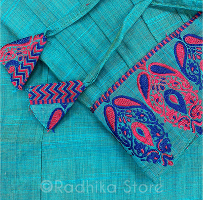 Gopi Skirt -Sea Green With Pink And Blue Paisley Peacock Plume Embroidery With Blue Chadar- Size XL
