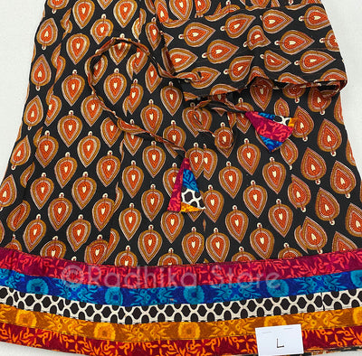Gopi Skirt -Cotton-Bandage (Tie Dye)- Cotton- Black And Earth Tones With Multi Color Border - Red Cheddar- Size Large