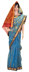 Blue Stripe Red and Gold Cotton Silk  - Jari Saree