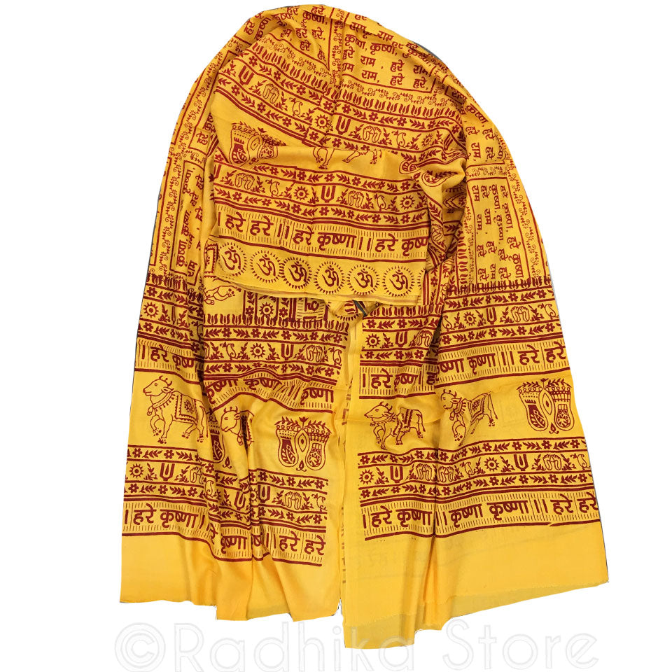 Maha Mantra Chadar - Orange/Yellow With Red - Vrindavan Cows, Om, Lotus Feet