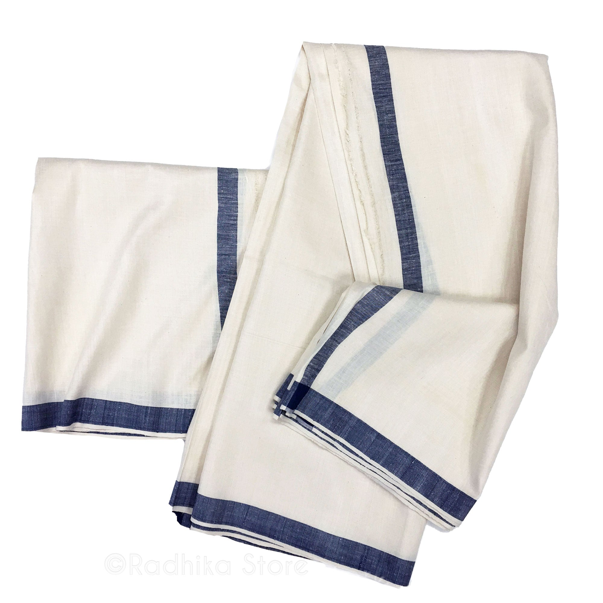 Raw Silk Dhoti And Chadar - Natural Khadi - Cream With Dark Blue Stripe