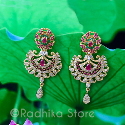 Vedic Paisley Fan Crystal Earrings