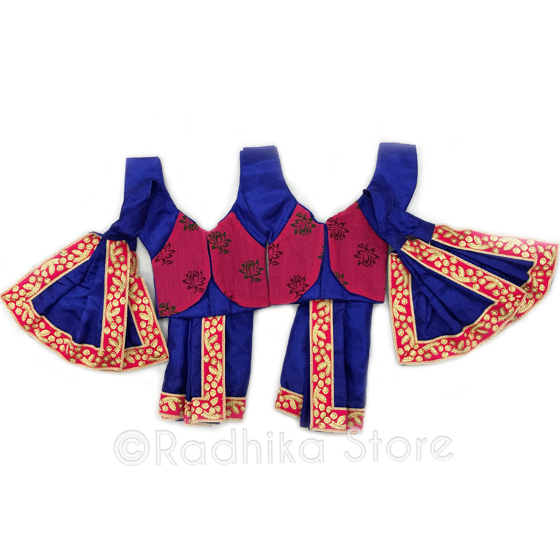 "Peacock Blue With Lotus Vest - Deity Outfit (Gaura Nitai)- Size 5"" Inch Dhoti"