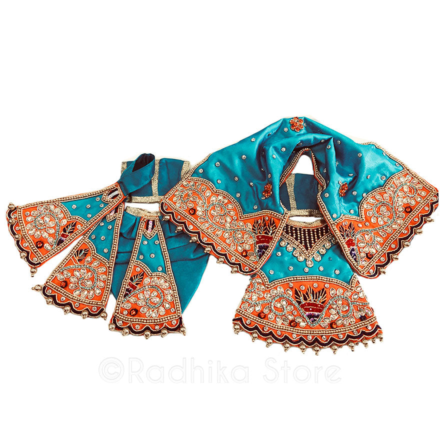 Banks of River Yamuna- Teal Green and Orange -Outfit (Radha Krishna)