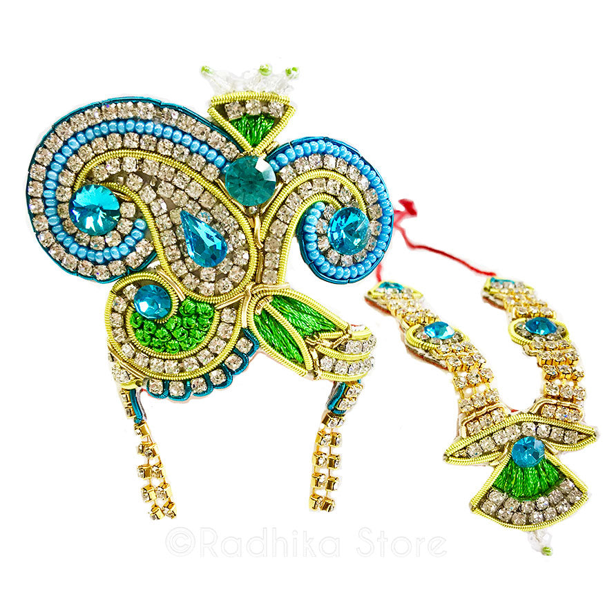 Parrot Paisley - Deity Crown Necklace Set -Green and Teal Blue