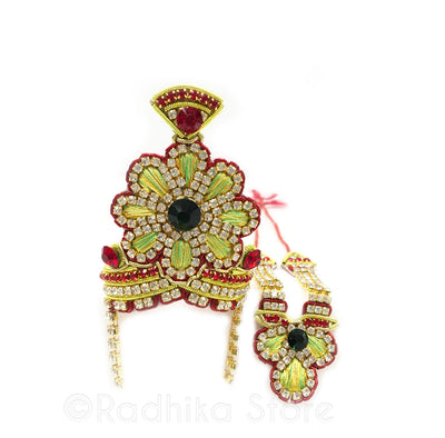 Vrindavan Flower - Deity Crown And Necklace Set- Lemon/Lime And Red Colors
