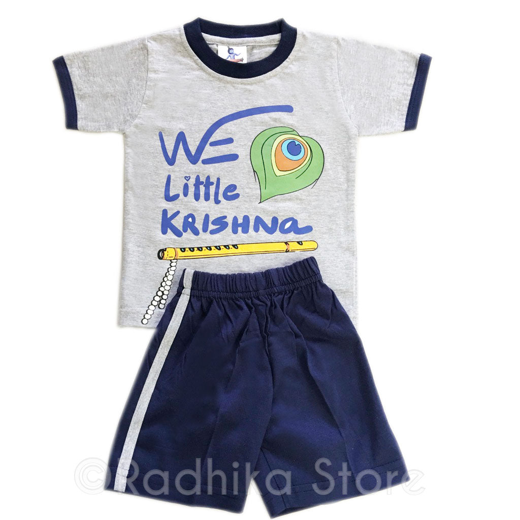We Little Krishna Set of T-shirt and Shorts - Gray and Dark Blue- Size 06 to 24 Months