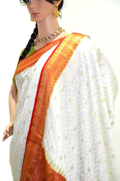 Divine White Gold and Red/Orange- Pure Silk Saree