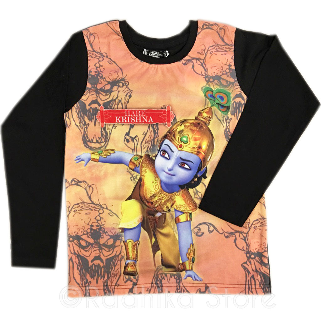 Warrior Krishna Black Long Sleeve- Choose Size 2 To 12 Years