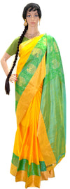 Sunshine Green Golden Lotus - Pure Silk Saree