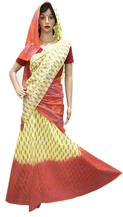 Ladies Gopi Skirt-Yellow Orange Purple Wrap -Matching Chunni