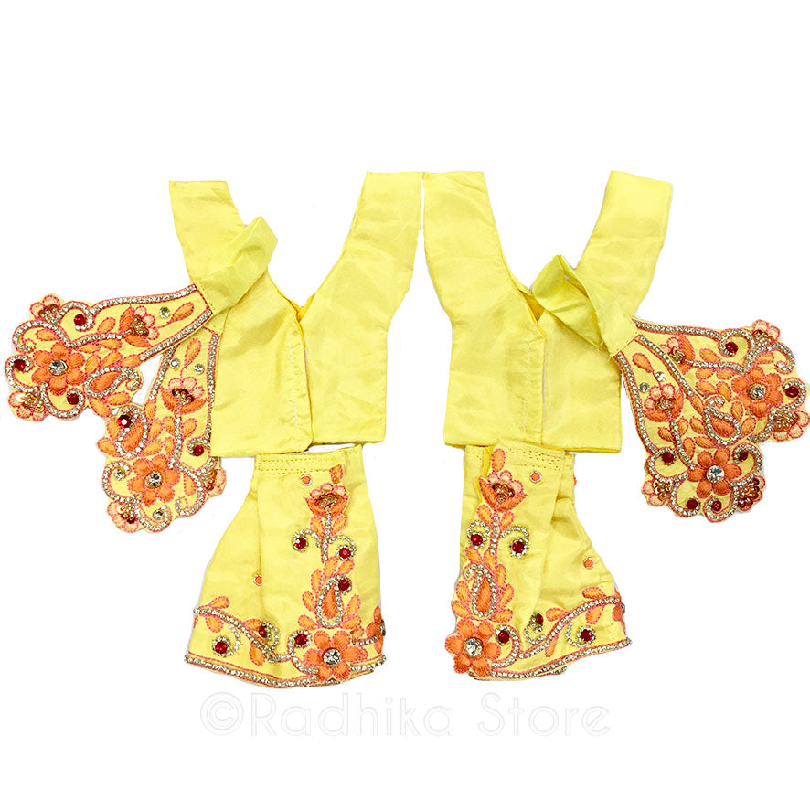 Blissful Kirtan Dancing Outfit - (Yellow and Peach - Gaura Nitai) -  Choose size