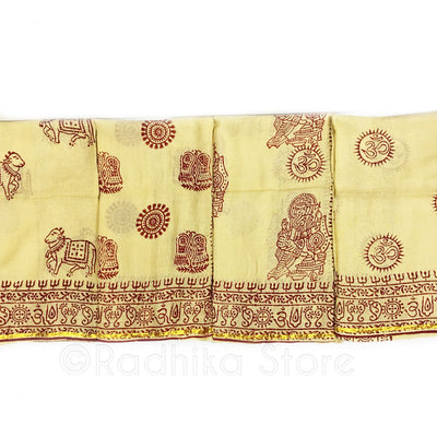 Yellow With Red And Gold Boarder - OM Chadars  4 Designs To Choose