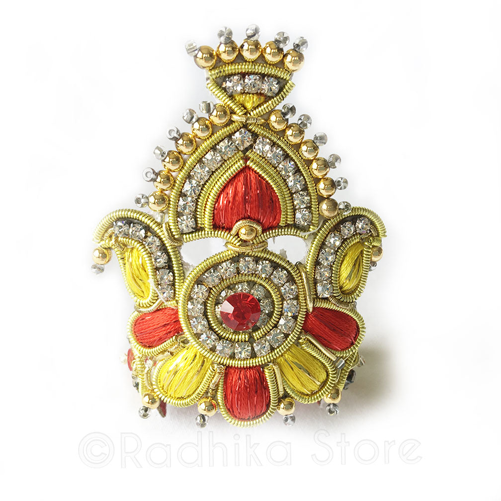 Red Yellow And Gold - Peacock Fan Rhinestone Crown