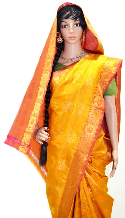 Divine Golden Orange Copper - Pure Silk Saree