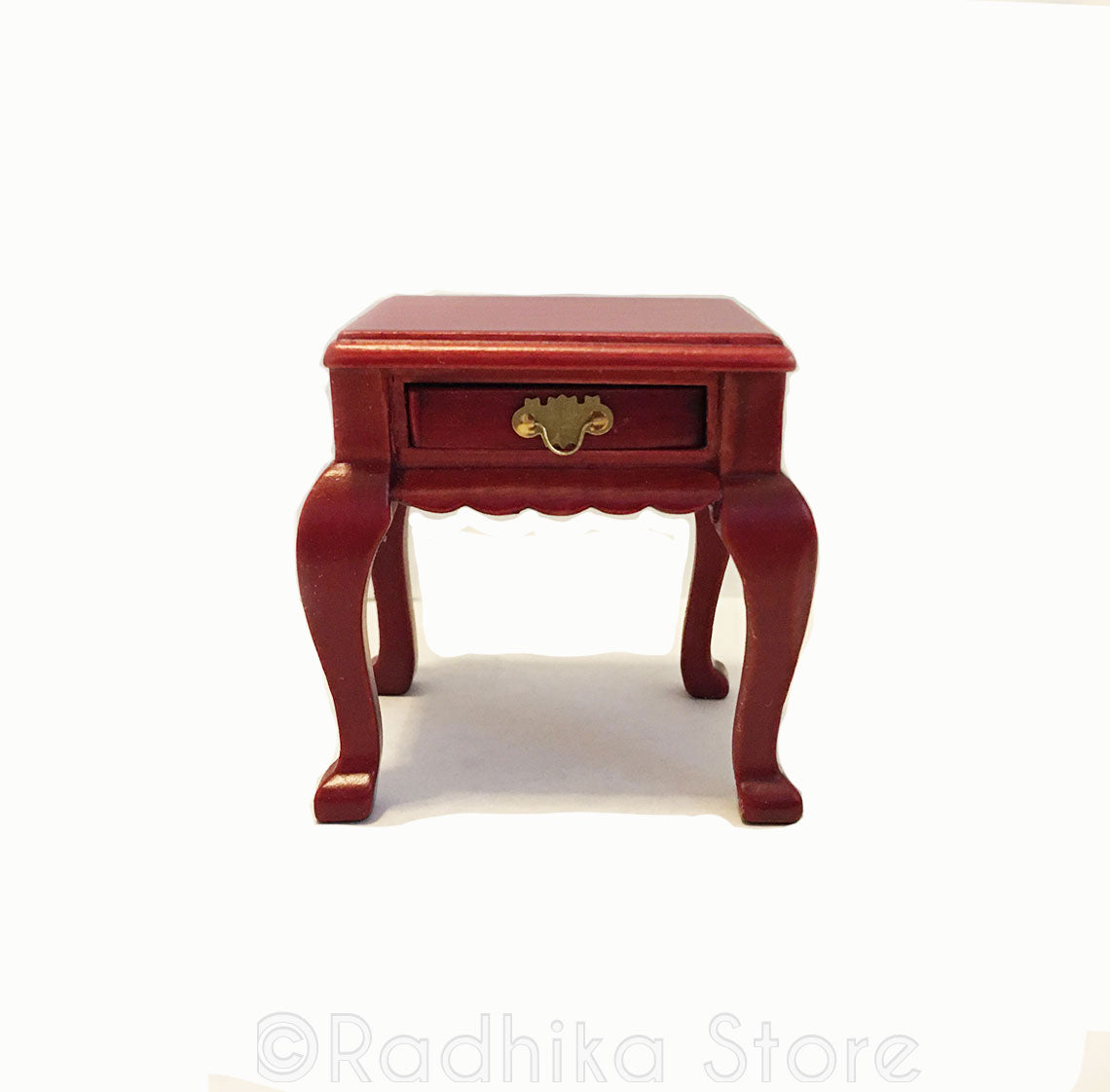 Fancy Chawki (Offering Table) or End Table With Drawer- Cherry Finish