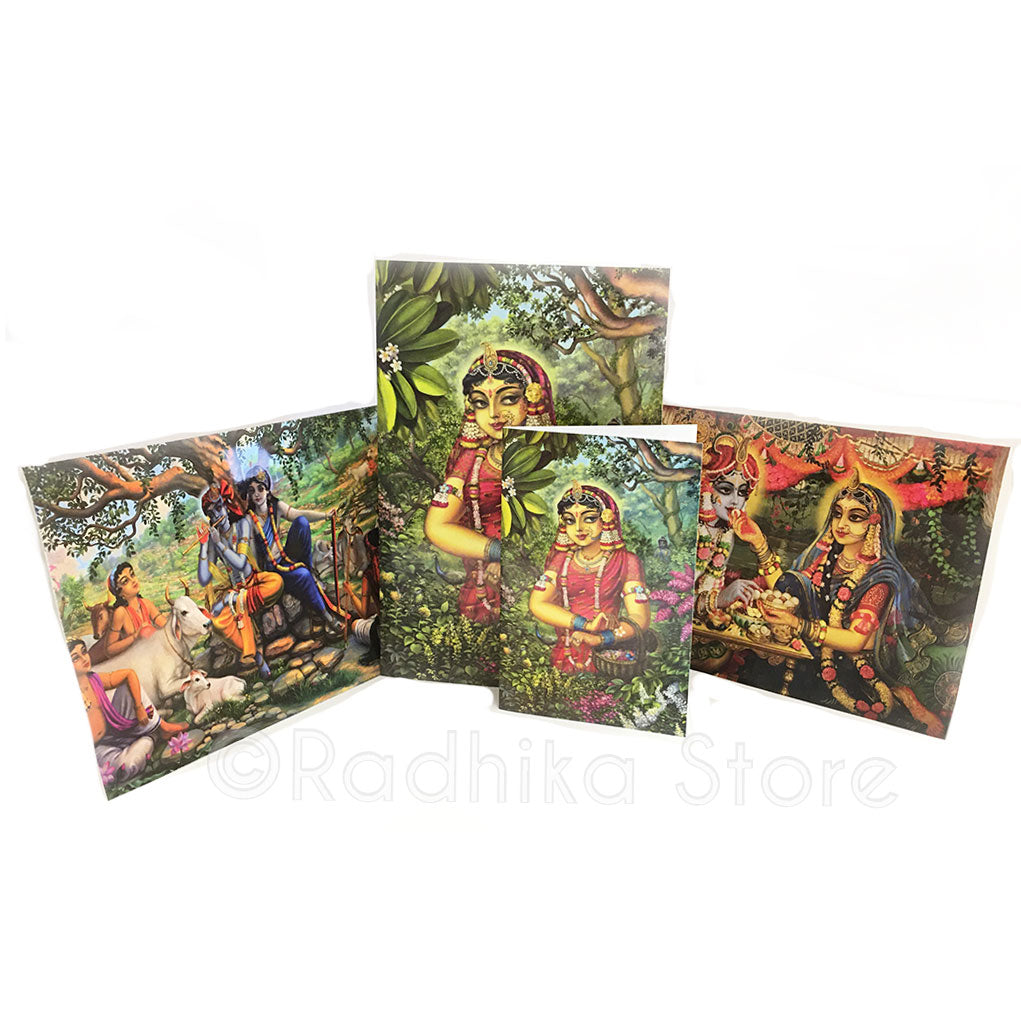 10 Krishna Greeting Cards Set