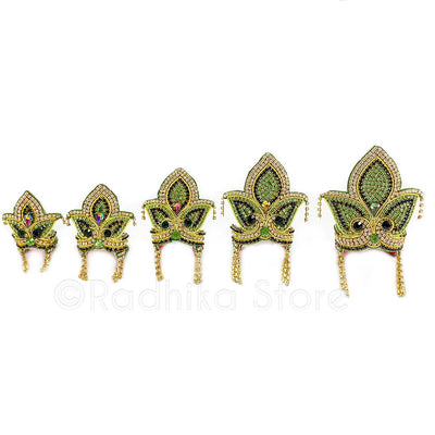 Green Tulsi Leaf - Rhinestone Crown and Necklace Set