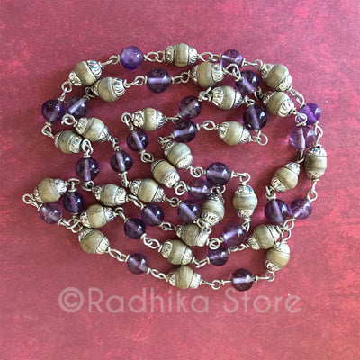 "Tulsi With Amethyst And Silver Chain Necklace  - 16"" or 25"" Inches"