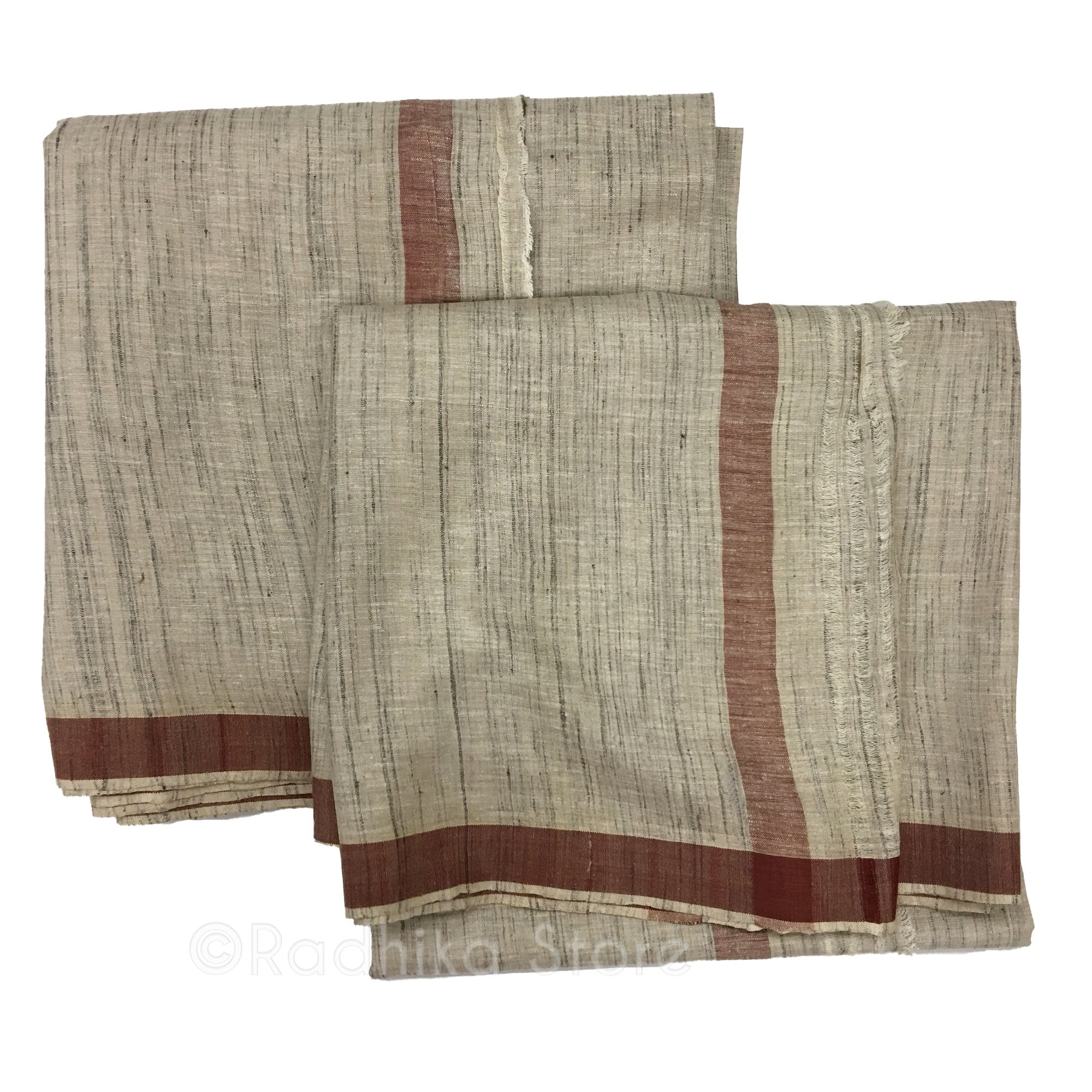 Silk Dhoti And Chadar - Natural Khadi - Beige Tweed With Rust Stripe