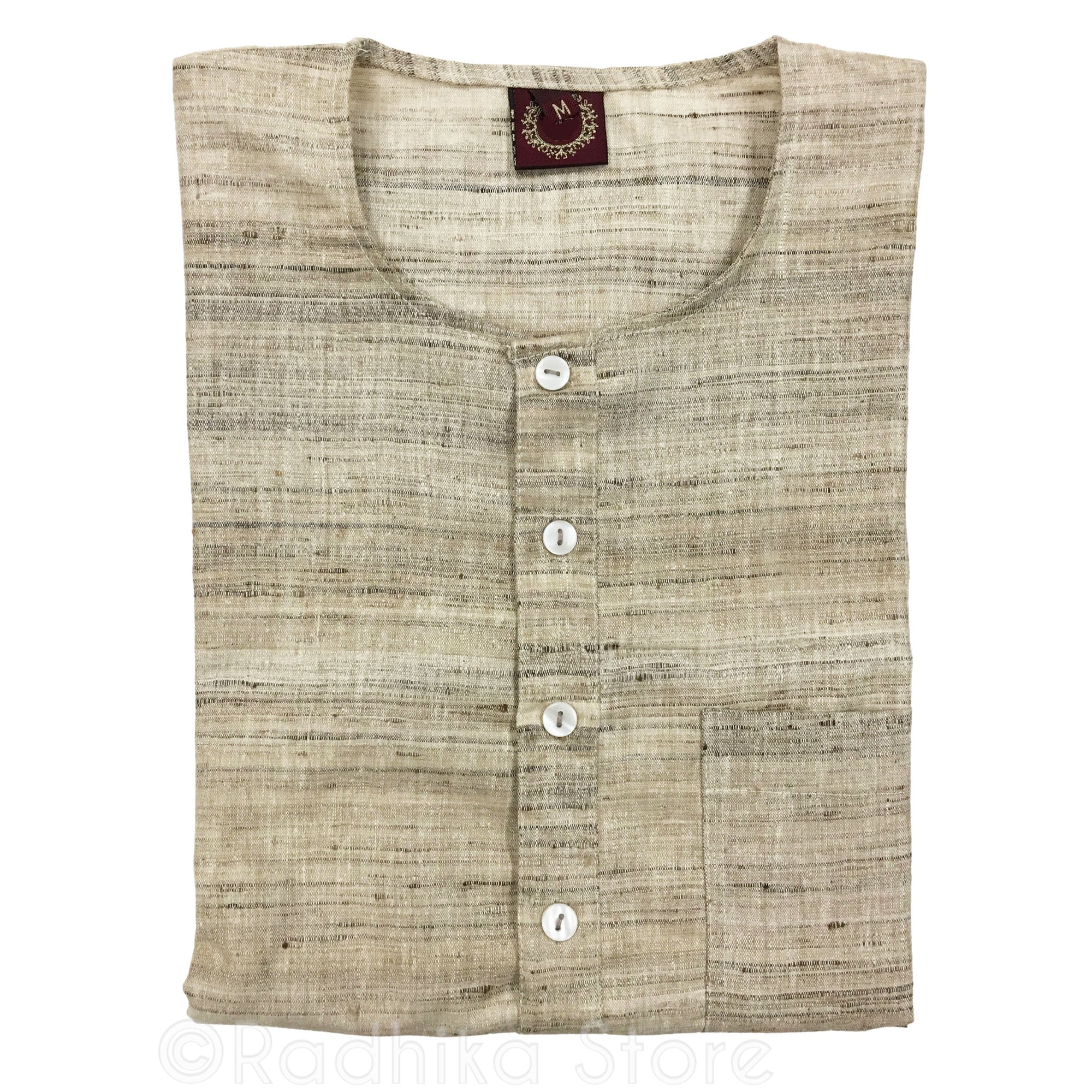 Raw Silk- Beige Tweed - Short Sleeve Kurtas