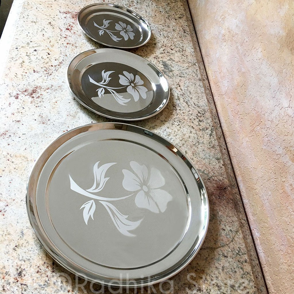 3 Plates Set- Large, Medium and Small (Stainless Steel) Flower Design- (Plates Only)