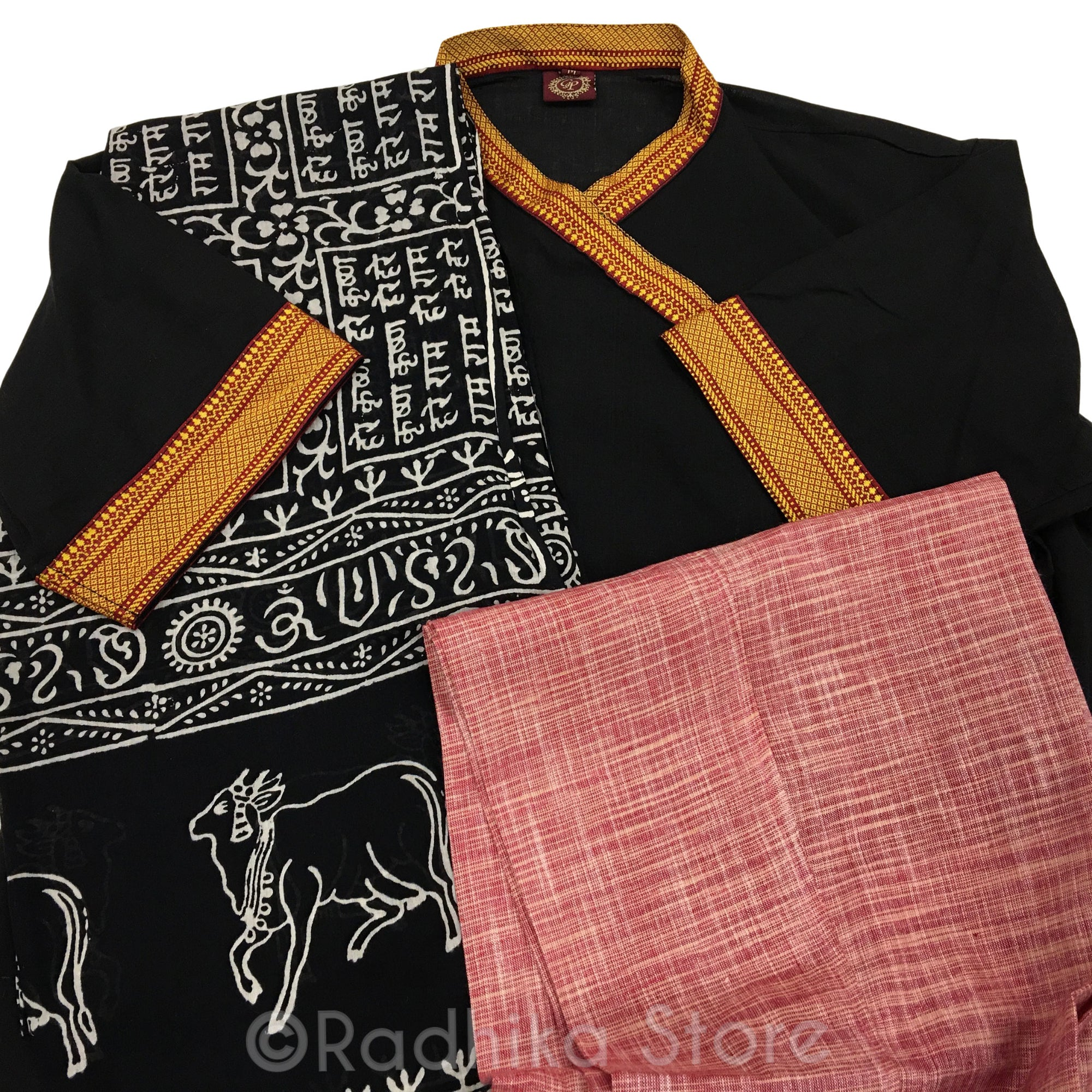 Black With Red and Gold-  Festival Bundi Kurta - Cotton - Short Sleeve