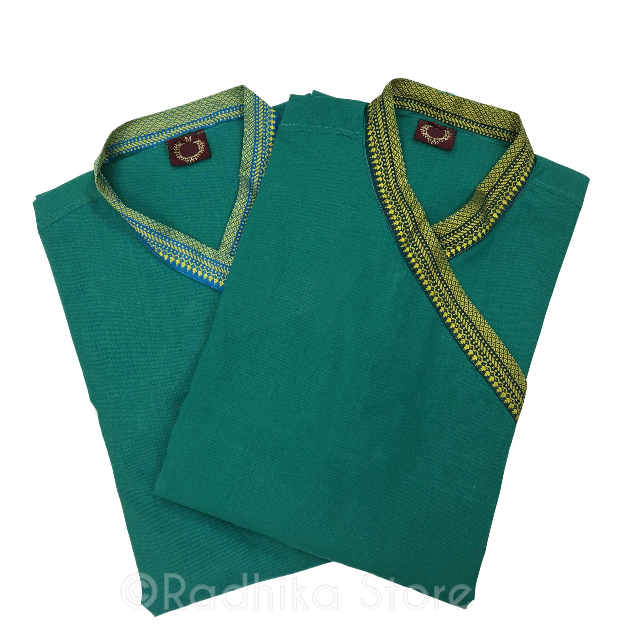 Bright Green Festival Bundi Kurta - Cotton - Short Sleeve