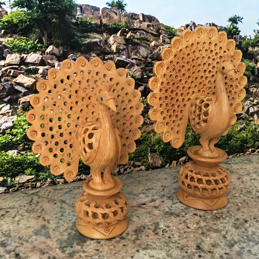 Hand Carved Dancing Govardhana Peacocks  With Baby Peacock Inside- Choose From Two Sizes