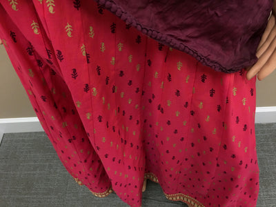 Gopi Skirt -Coral And Plumb With Gold - Maroon Chadar- Choose Size