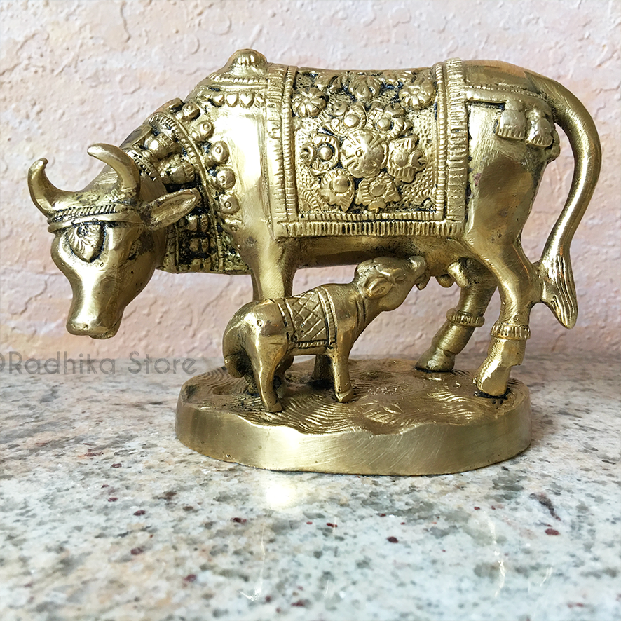 "Brass Cow And Calf With Flower Blanket - 4"" Inch"