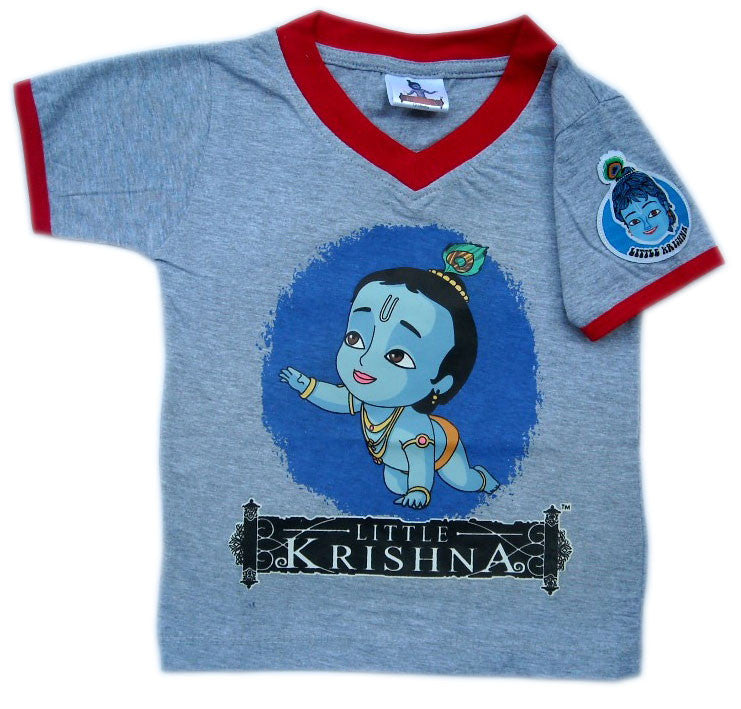 Crawling Krishna Circle T-shirt, Gray