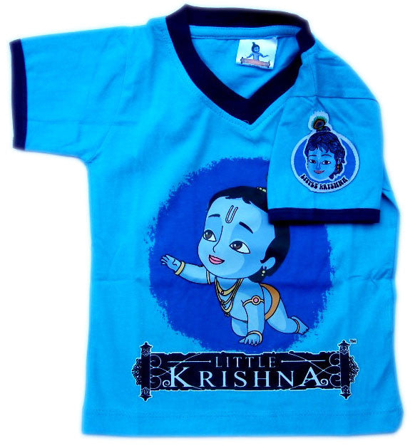 Crawling Krishna Circle T-shirt, Royal Blue