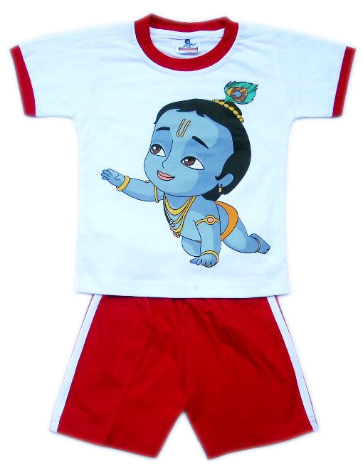 Crawling Krishna Set, White/Red