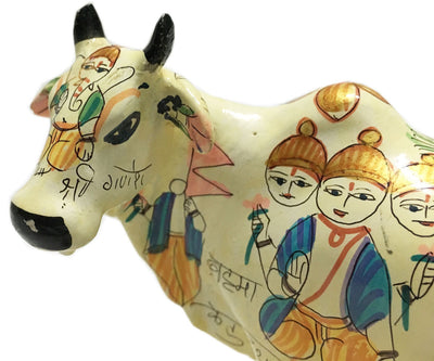 "Special Surabhi Altar Cow and Calf  With Demigods 6"" inches"