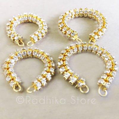 Gold Rhinestone Bangles/Ankle Bells Set - 4 Sizes