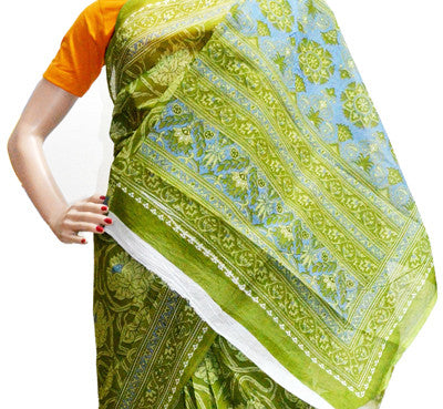 Garden Green Sky Blue - Cotton Saree