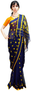 Bengali Dark Blue and Yellow - Cotton Saree