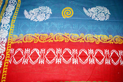 Sky Blue Red Yellow Block Print - Cotton Rayon Saree