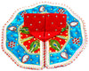 "Laddu Gopal Outfit Red and Sky Blue Peacock Feather, Cotton Silk 4"" Inch"