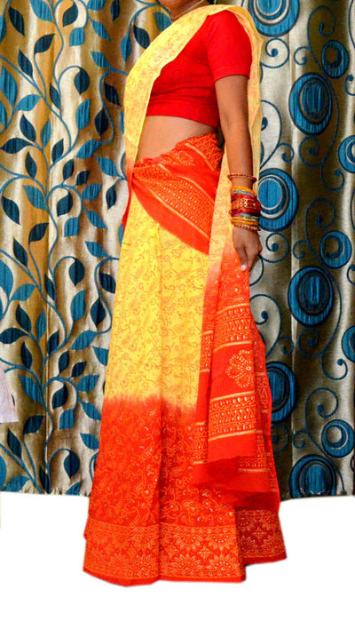 Ladies Gopi Skirt - Yellow with Orange Red